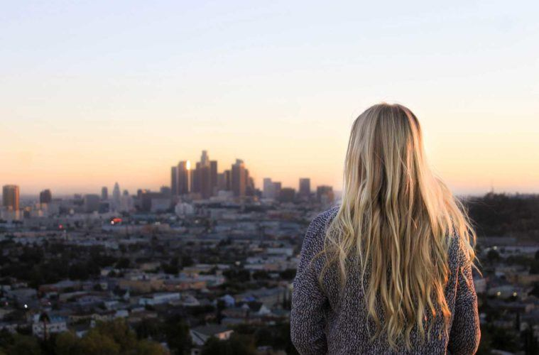girl staring at the cityscape