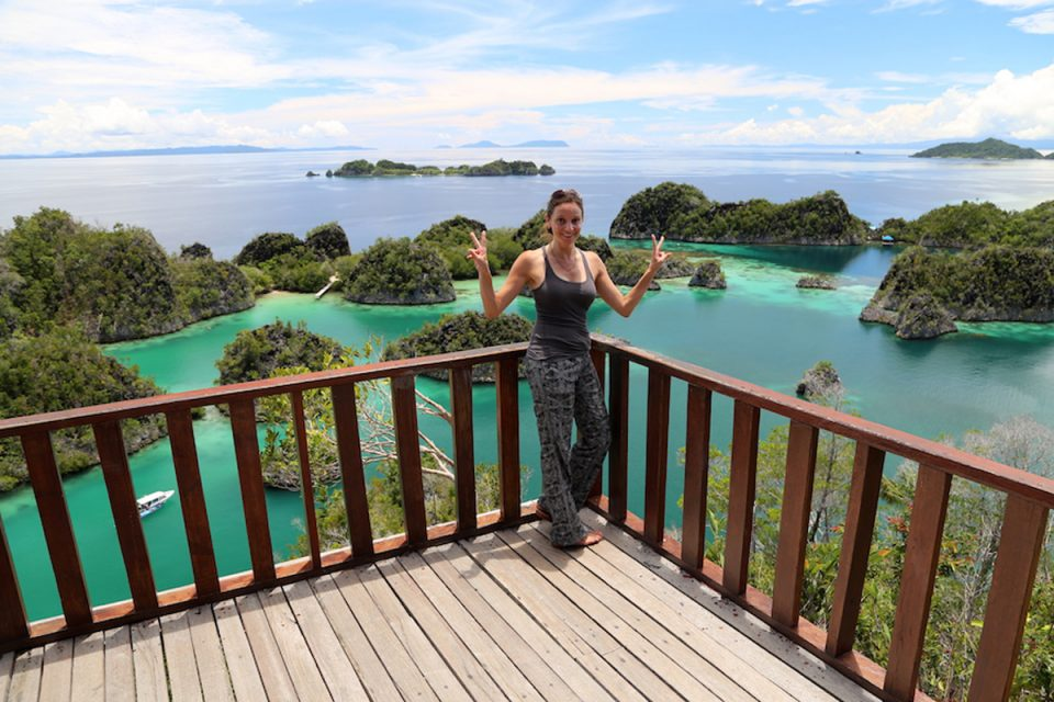 Standing in front of the Piaynemo viewpoint, Raja Ampat, Indonesia