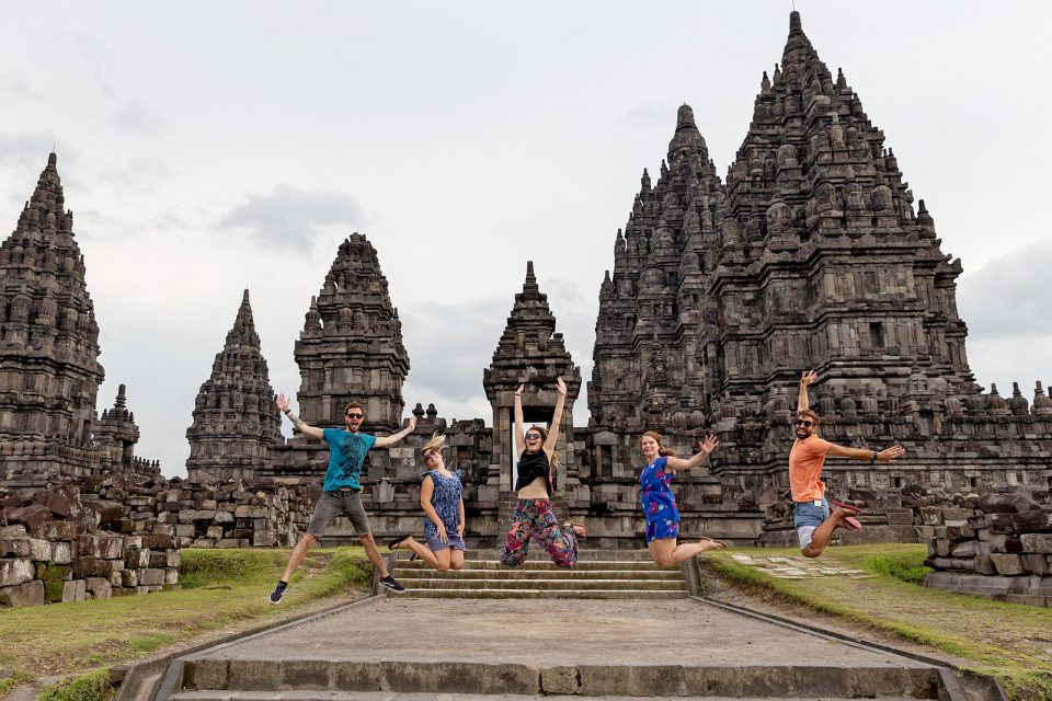 Jumping in front of Prambanan temple, Indonesia