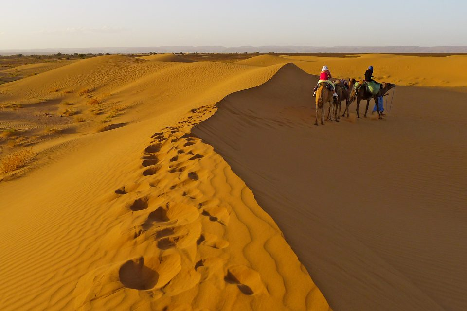 Two people on camels in Moroccan desert