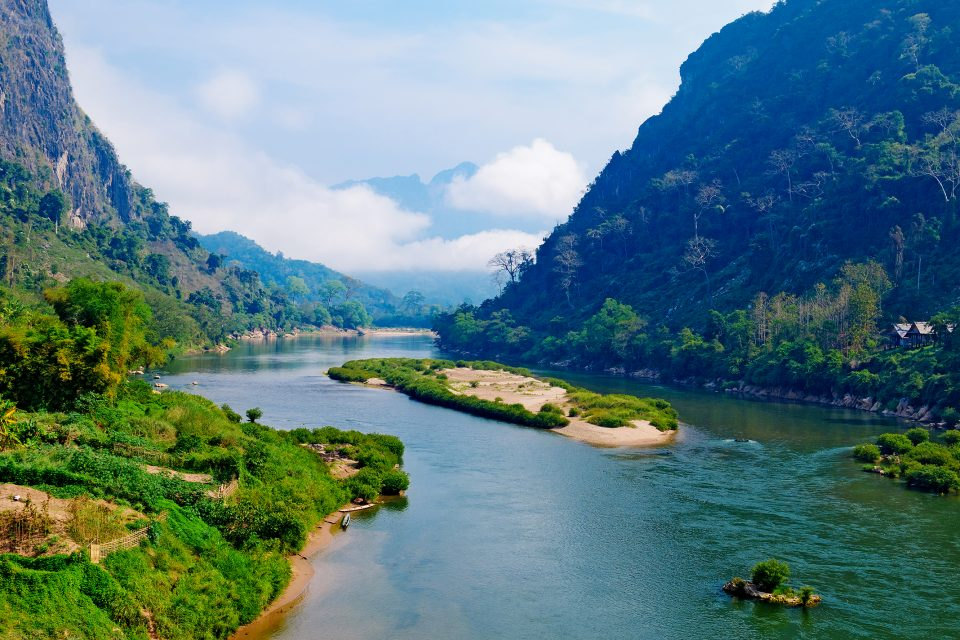 View of Nong Khiaw river in Laos