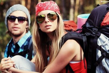 young backpackers