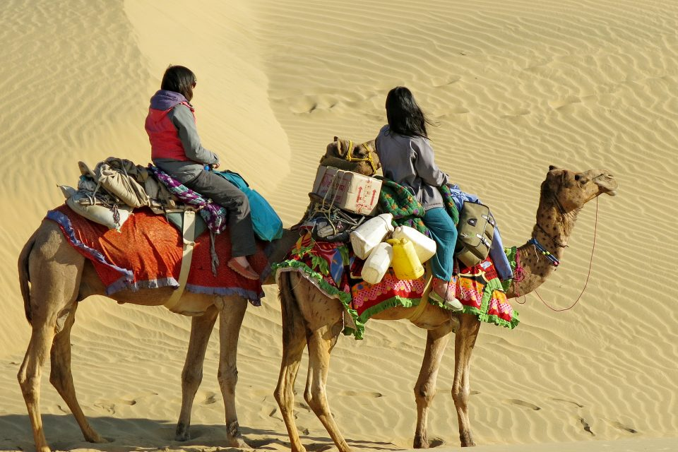 Women riding camels
