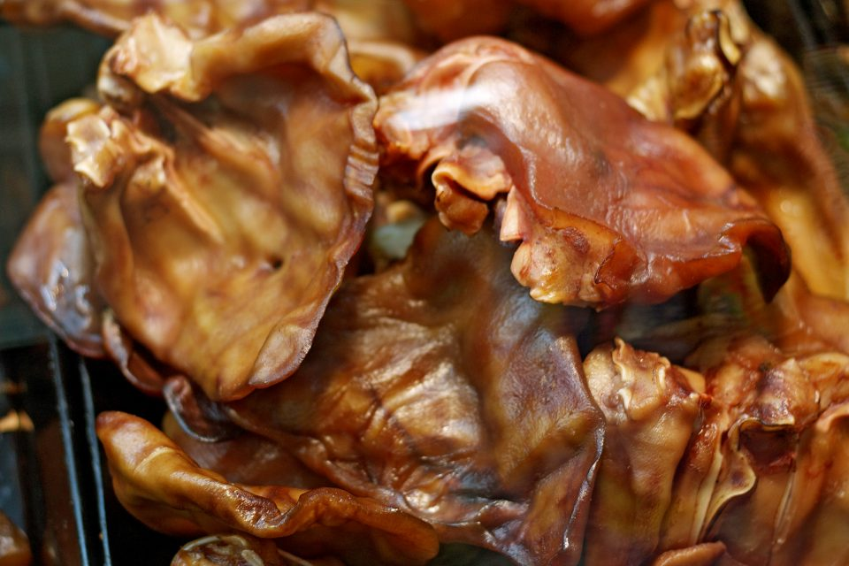 Close up of grilled pig ears