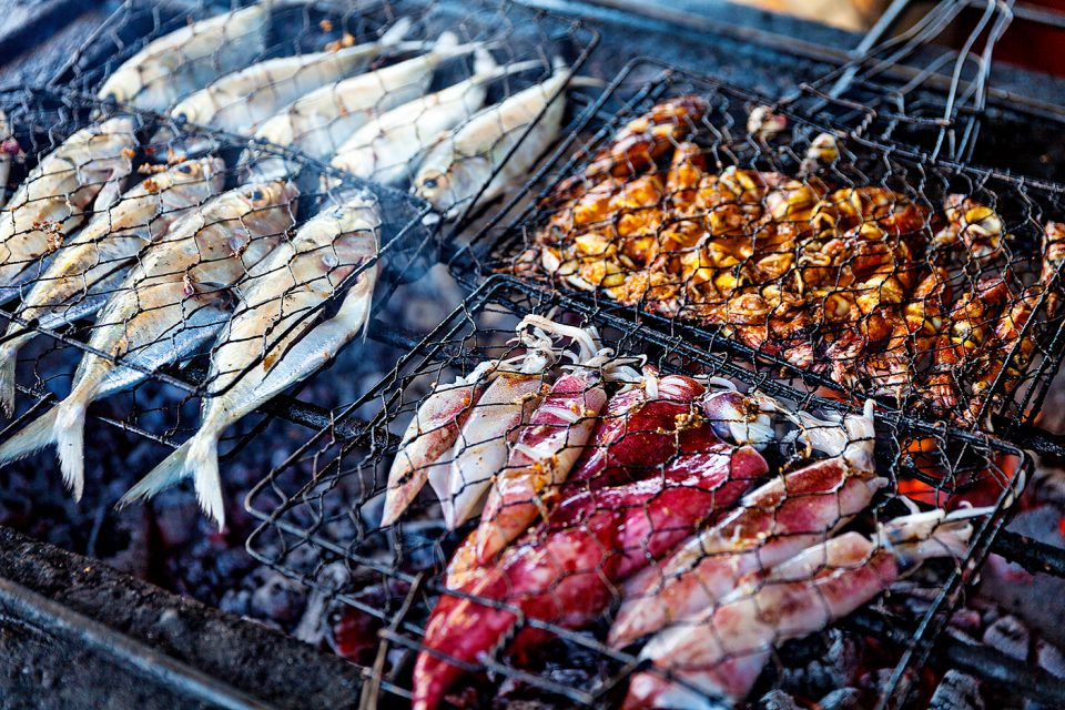 fish and squid on the grill