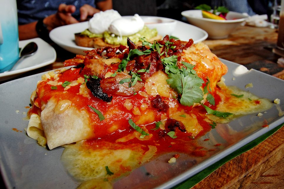Close up of a large enchilada