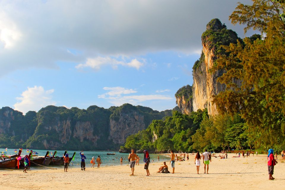 People at Railay beach in Krabi