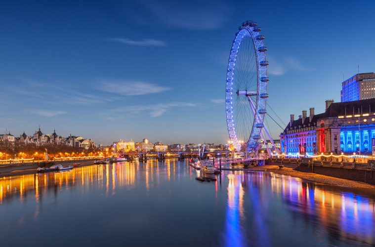 The london eye lit up at night